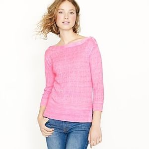 Jcrew pink linen cable knit sweater